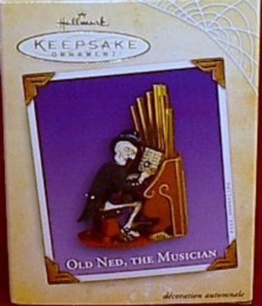 Hallmark Halloween 2004 Collectible Ornament Old Ned the Musician Skeleton