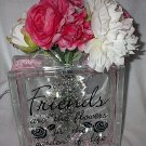 "8"" Decorative Glass Block Light Bouquet Friends are Flowers in Garden of Life"