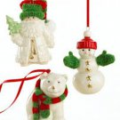 Lenox Porcelain Knit Warmest Wishes Ornaments Set 3 Santa Snowman Polar Bear