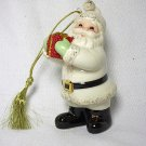 Lenox Porcelain Santa with Red Glitter Gift Ornament