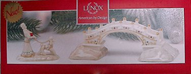 Lenox Mistletoe Park Village Bridge Dog Walker New In Box