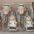 Expressions I Love Winter Primitive Snowman Snowmen Shower Hooks Set of 12