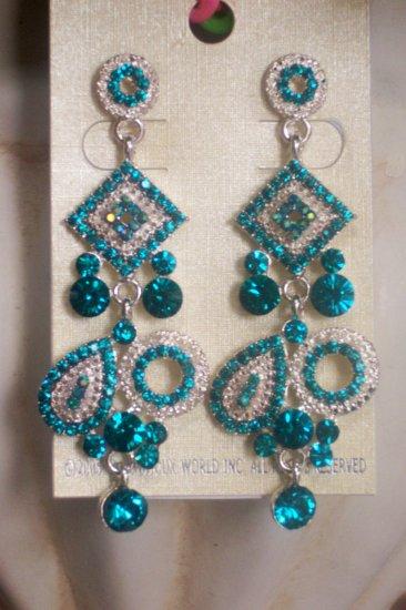 Blue Art Deco Turquoise Aqua Aquamarine Crystal Chandelier Earrings Drop, Dangle