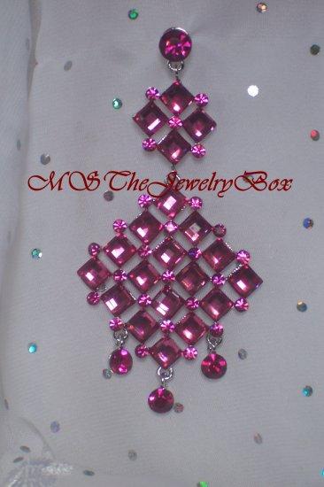 Fuscia HOT PINK /Crystal Chandelier Earrings Drop, Dangle
