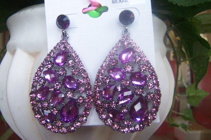 Purple, Amethyst Oval Crystal Chandelier Earrings Drop, Dangle