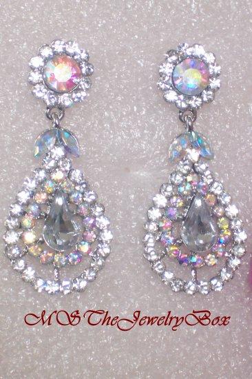 Classic White / Clear Silver Crystal Chandelier Earrings, Dangle, Drop
