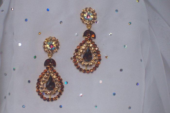 Classic Brown, Topaz Crystal Chandelier Earrings, Dangle, Drop