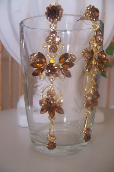Brown, Topaz Crystal Chandelier Earrings, Dangle, Drop