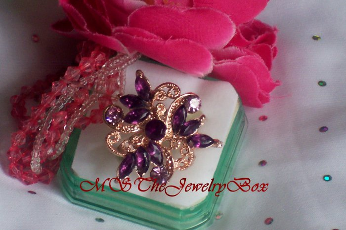 Large Purple Crystal Fashion Cocktail Ring Vintage Look