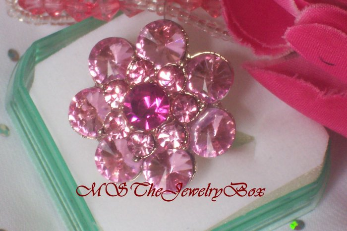 Large Pink Crystal Fashion Cocktail Ring Vintage Look