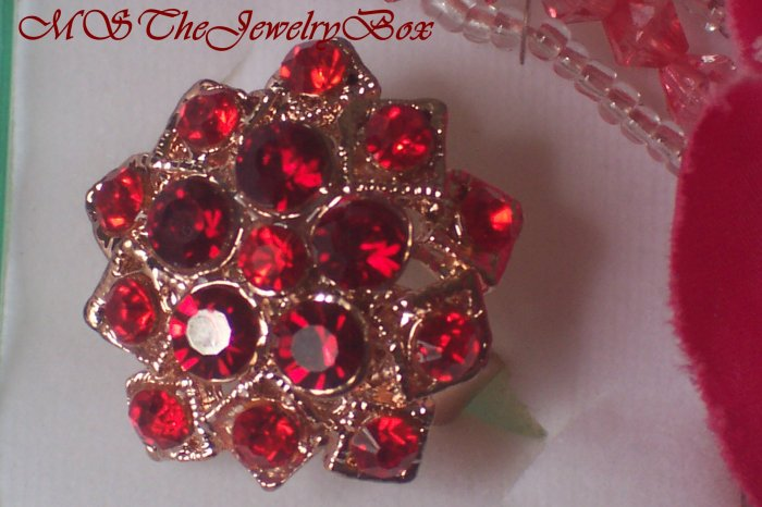 Large RED Crystal Fashion Cocktail Ring Vintage Look