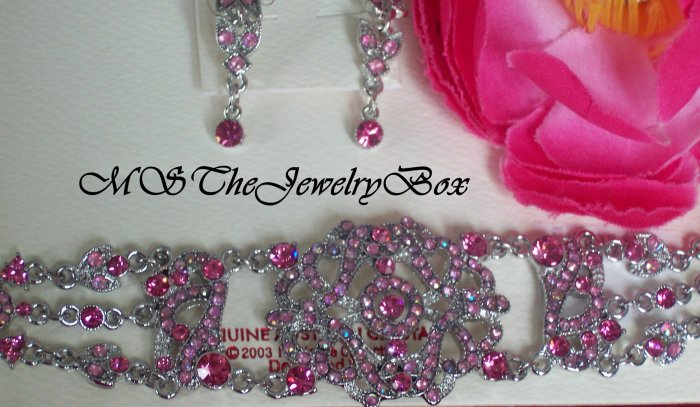PINK VICTORIAN STYLE AUSTRIAN CRYSTAL CHOKER NECKLACE EARRING SET AB