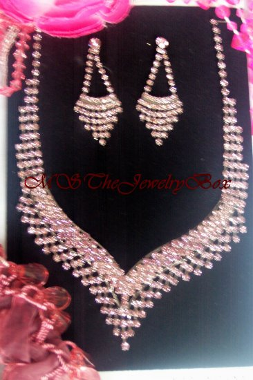 PINK RHINESTONE  CRYSTAL BRIDAL NECKLACE EARRING SET