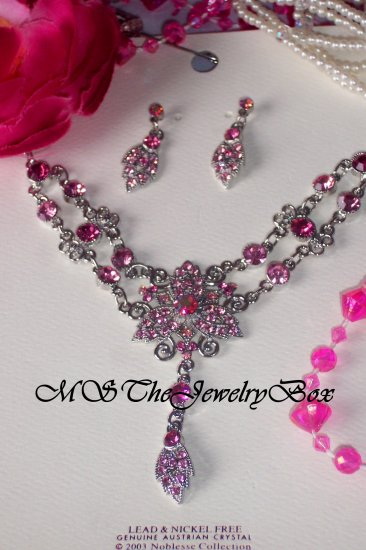 PINK VICTORIAN STYLE AUSTRIAN CRYSTAL NECKLACE EARRING SET AB