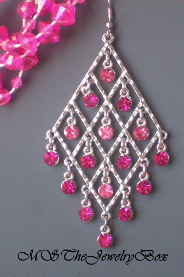 HOT PINK / Fuscia Crystal Chandelier Earrings Drop, Dangle