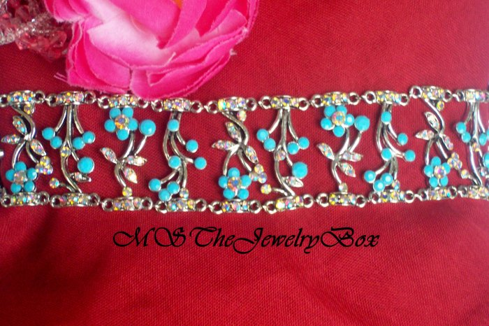 BLUE VICTORIAN AUSTRIAN CRYSTAL CHOKER NECKLACE AB