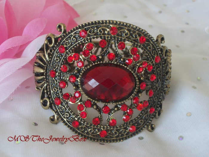 RED Ruby CHUNKY Medallion trendy Hinged Bracelet  Bangle Faceted Stones
