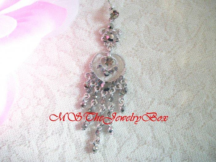 Crystal Long Gray Toned Silver Chandelier Earrings Drop, Dangle