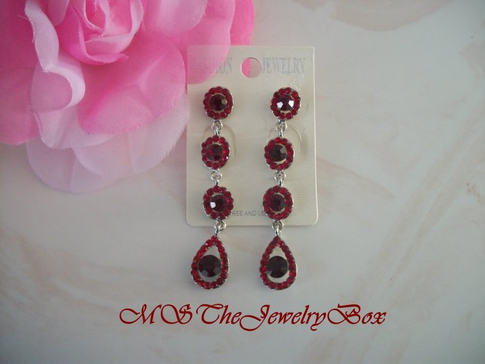Long  Red Ruby Crystal  prom Chandelier Earrings Drop, Dangle