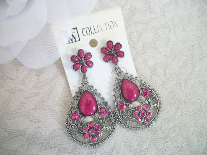 PINK, FUSCIA, MAGENTA, Stone Chandelier Earrings Drop, Dangle