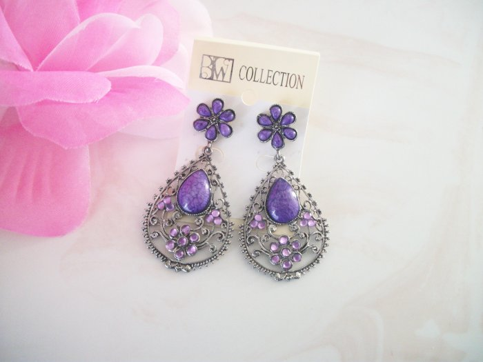 PURPLE, LILAC Stone Chandelier Earrings Drop, Dangle
