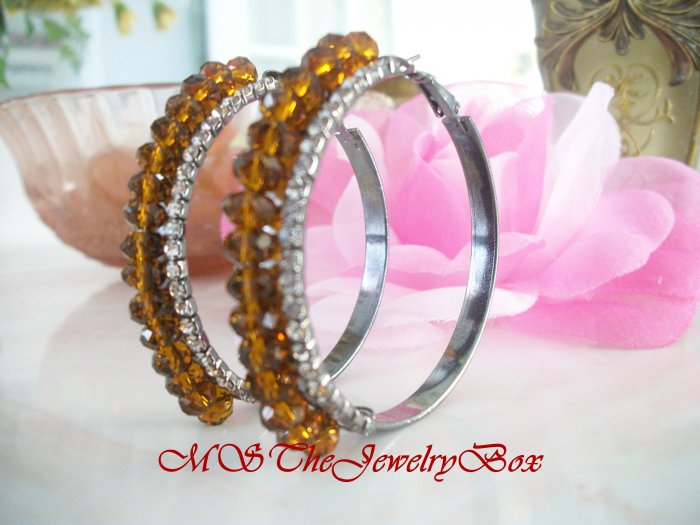 Classic Brown, Topaz, Silver Crystal hoops Hoop Earrings with rhinestones