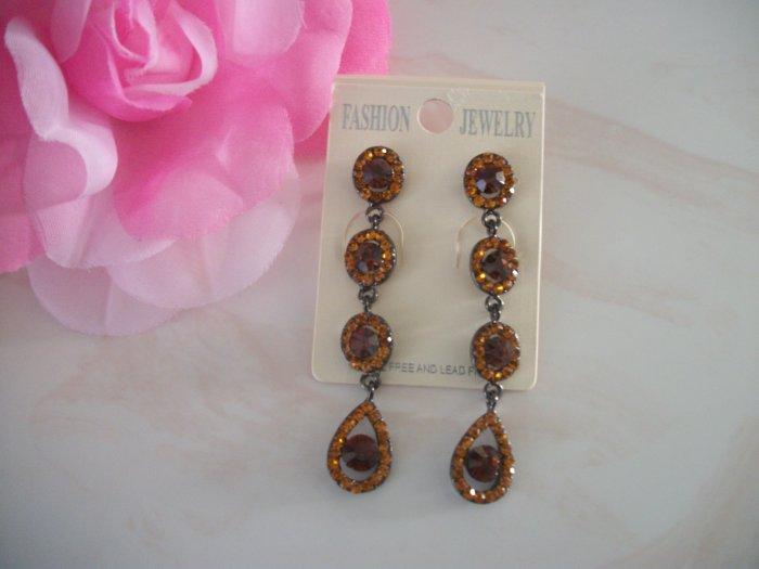Long  Brown, Topaz silver Crystal Chandelier Earrings Drop, Dangle