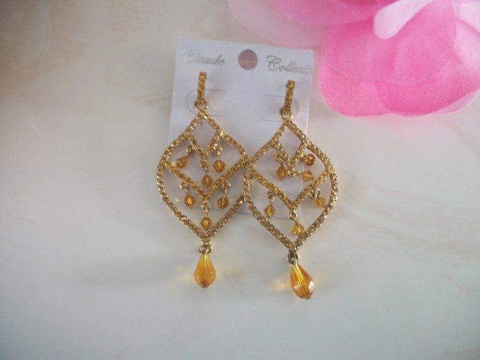 Elegant GOLD / BROWN, topaz Bead, Crystal Chandelier Earrings Drop, Dangle