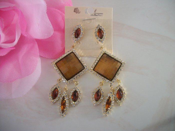 Diamond, rhinestone GOLD / BROWN, topaz, Crystal Chandelier Earrings Drop, Dangle