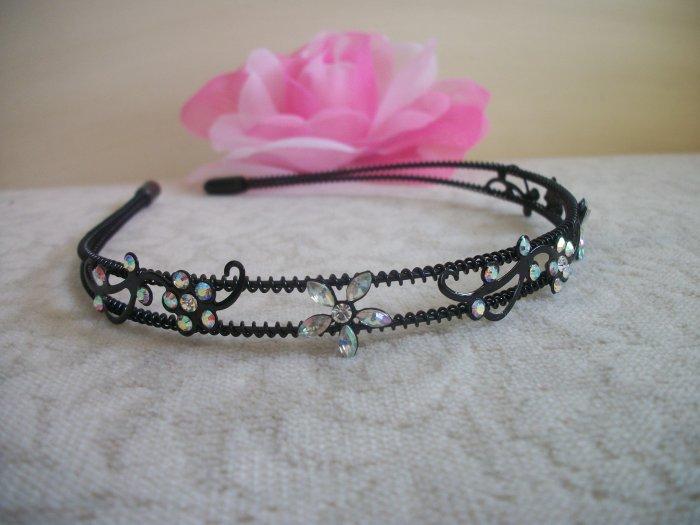 WHITE AB Crystal, Rhinestone Black Prom Headband, Tiara, Bridal, Wedding Hair Jewelry
