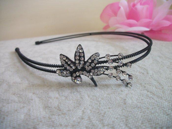 WHITE FLOWER Crystal, Rhinestone Black metal Headband, Tiara, Bridal, Wedding Hair Jewelry