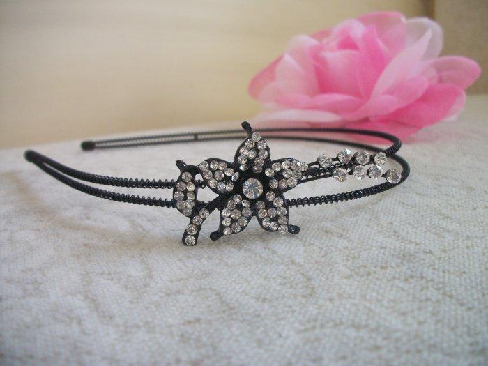 WHITE FLOWER LEAF Crystal, Rhinestone Prom Black metal Headband, Tiara, Bridal, Wedding Hair Jewelry