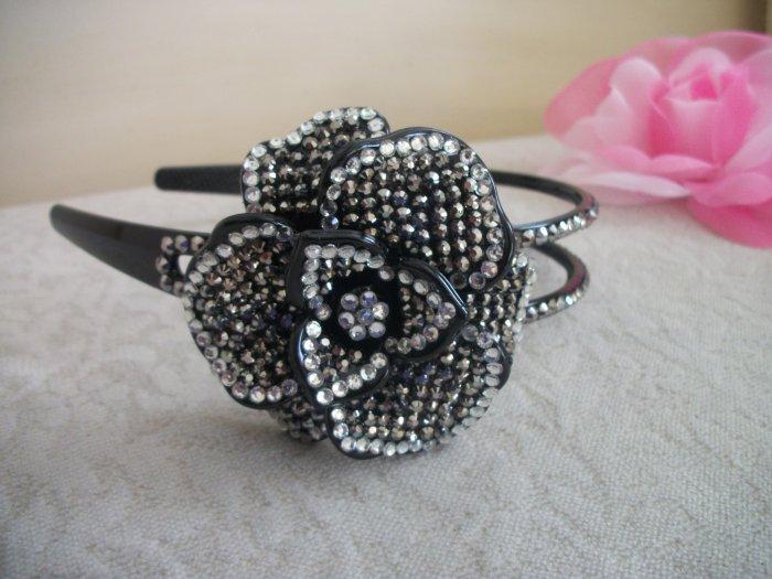 Headband Black White Silver Crystals Rhinestones Tiara, bridal, wedding, Hair Jewelry