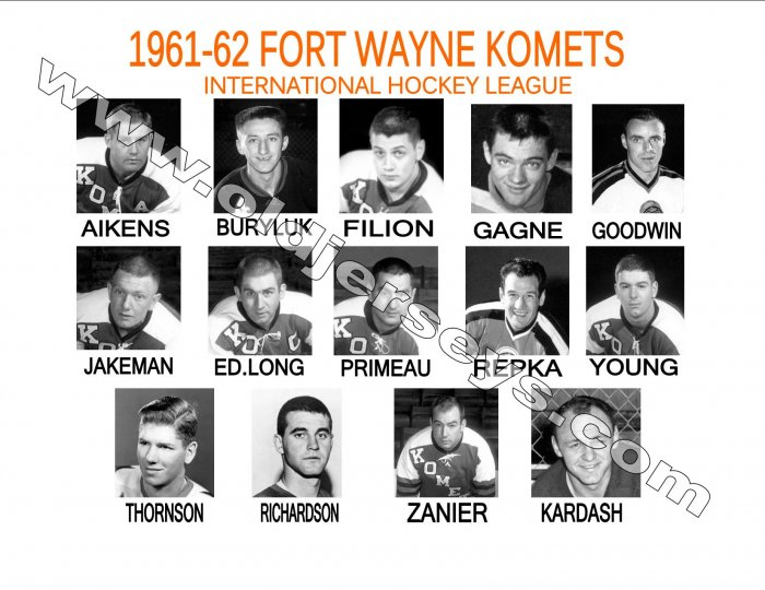 1961-62 FORT WAYNE KOMETS HEADSHOTS TEAM PHOTO