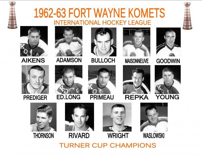 1962-63 FORT WAYNE KOMETS HEADSHOTS TEAM PHOTO