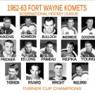 1962-63 FORT WAYNE KOMETS HEADSHOTS TEAM PHOTO