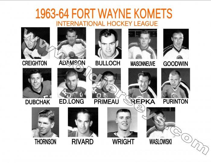 1963-64 FORT WAYNE KOMETS HEADSHOTS TEAM PHOTO