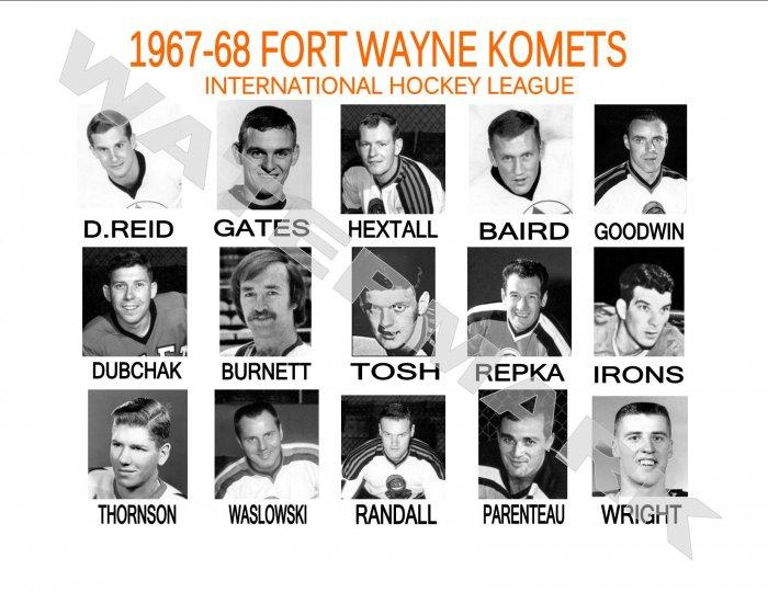 1967-68 FORT WAYNE KOMETS HEADSHOTS TEAM PHOTO
