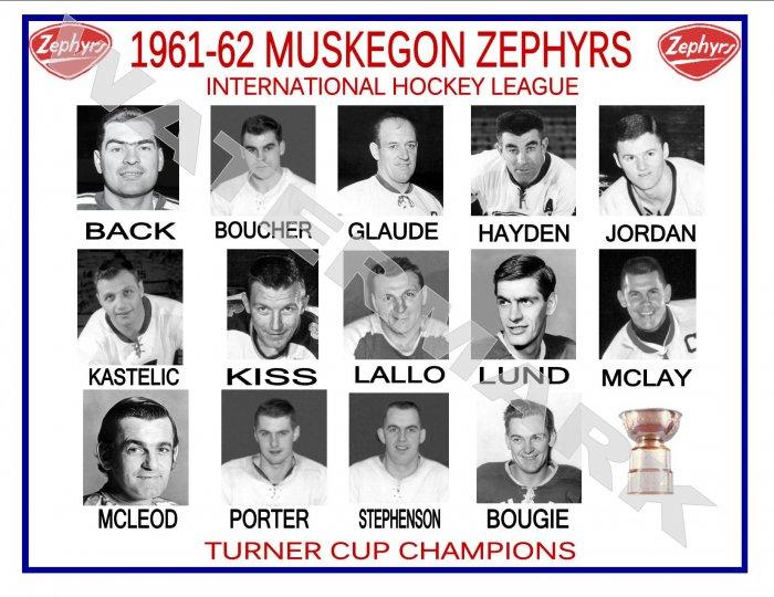 1961-62 MUSKEGON ZEPHYRS HEADSHOTS TEAM PHOTO