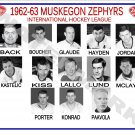 1962-63 MUSKEGON ZEPHYRS HEADSHOTS TEAM PHOTO