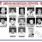 1963-64 MUSKEGON ZEPHYRS HEADSHOTS TEAM PHOTO