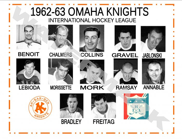 1962-63 OMAHA KNIGHTS IHL HEADSHOTS TEAM PHOTO
