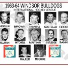 1963-64 WINDSOR BULLDOGS IHL HEADSHOTS TEAM PHOTO