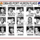 1964-65 PORT HURON FLAGS IHL HEADSHOTS TEAM PHOTO