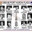 1965-66 PORT HURON FLAGS IHL HEADSHOTS TEAM PHOTO