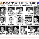 1966-67 PORT HURON FLAGS IHL HEADSHOTS TEAM PHOTO