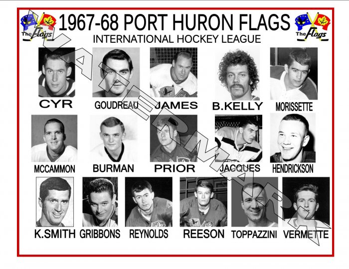 1967-68 PORT HURON FLAGS IHL HEADSHOTS TEAM PHOTO