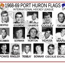 1968-69 PORT HURON FLAGS IHL HEADSHOTS TEAM PHOTO