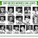 1967-68 DES MOINES OAK LEAFS IHL HEADSHOTS TEAM PHOTO