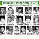 1968-69 DES MOINES OAK LEAFS IHL HEADSHOTS TEAM PHOTO